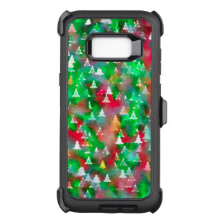Christmas Tree Watercolor Pattern OtterBox Defender Samsung Galaxy S8+ Case