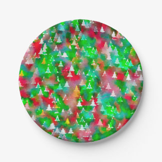 Christmas Tree Watercolor Pattern Paper Plate
