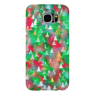 Christmas Tree Watercolor Pattern Samsung Galaxy S6 Case