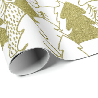 Christmas Tree White Fancy Glitter Mustard Yellow Wrapping Paper