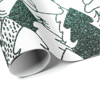 Christmas Tree White Woodland Fancy Glitter Green Wrapping Paper