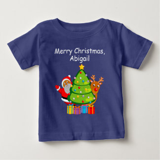 Christmas tree with a black Santa Claus & Rudolph, Baby T-Shirt