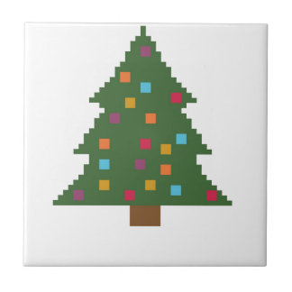Christmas tree with baubles ceramic tile