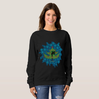 Christmas tree with black cat. Ugly sweater. Sweatshirt
