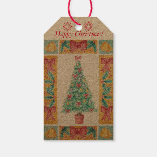 Christmas tree with decorations red bows bells art gift tags