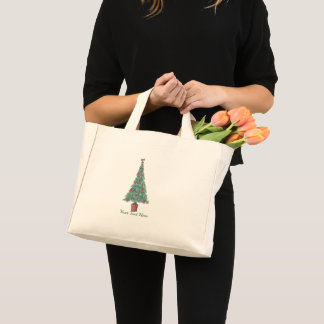 Christmas tree with decorations red bows bells art mini tote bag