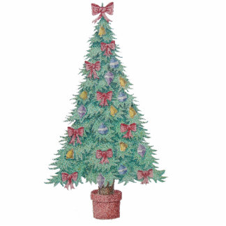 Christmas tree with decorations red bows bells art photo sculpture keychain