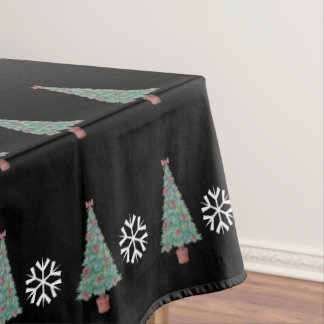 Christmas tree with decorations red bows bells art tablecloth