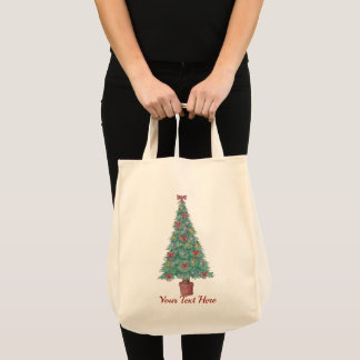 Christmas tree with decorations red bows bells art tote bag