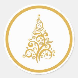 Christmas tree with gold swirls sticker