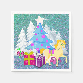Christmas Tree With Horse and Gifts  FAUX Glitter Paper Napkin