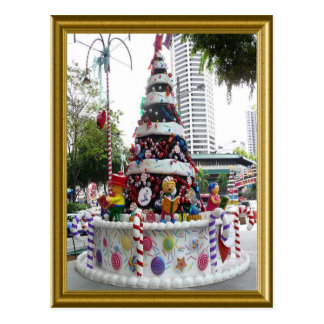 Christmas tree with icing on it postcard
