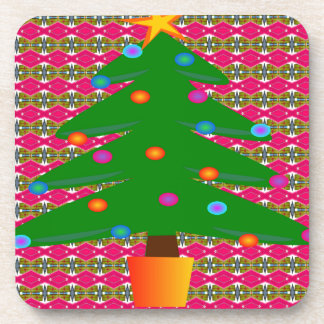 Christmas Tree with Patterned Background Coaster