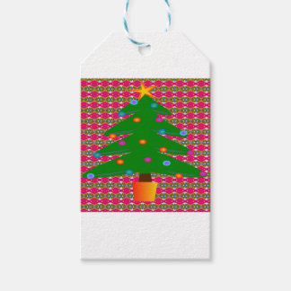 Christmas Tree with Patterned Background Gift Tags