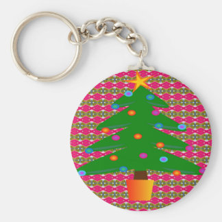 Christmas Tree with Patterned Background Keychain