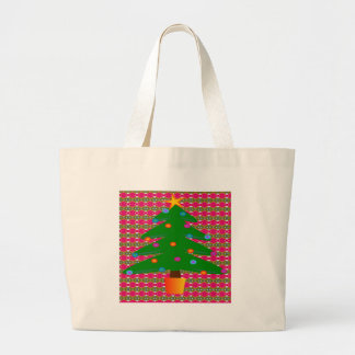 Christmas Tree with Patterned Background Large Tote Bag