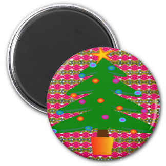 Christmas Tree with Patterned Background Magnet