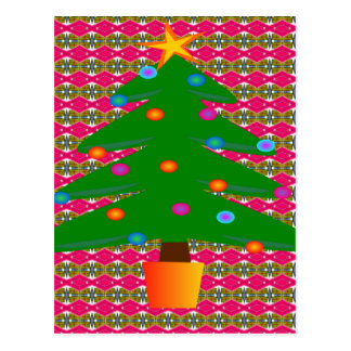Christmas Tree with Patterned Background Postcard