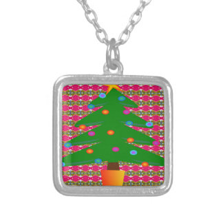 Christmas Tree with Patterned Background Silver Plated Necklace