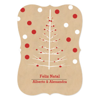 """Christmas Tree With Red Baubles - Feliz Natal 5"""" X 7"""" Invitation Card"""