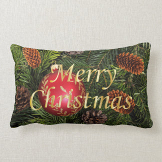 Christmas Tree with Red Ornament Lumbar Pillow
