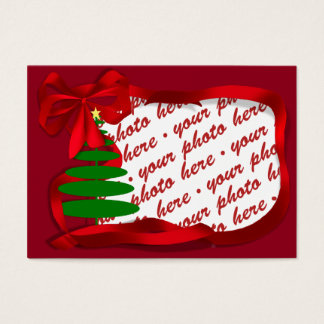 Christmas Tree with Red Ribbon Photo Frame Business Card