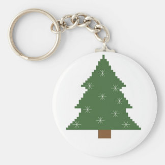 Christmas tree with stars basic round button keychain