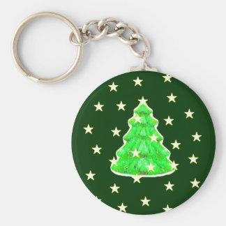 Christmas Tree with Stars jGibney The MUSEUM Zazzl Key Chain