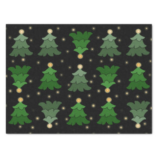 Christmas Tree with Stars on Black Tissue Paper