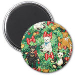Christmas Tree with Teddy Bear Ornaments Refrigerator Magnets