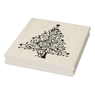 Christmas Tree Wooden Block Mounted Rubber Stamp