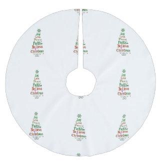 Christmas Tree Word Art Brushed Polyester Tree Skirt