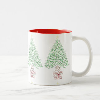 Christmas Tree word art Mug
