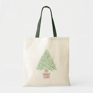 Christmas Tree word art Tote