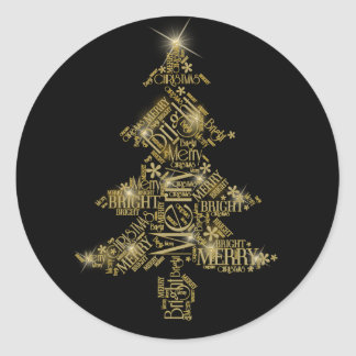 Christmas Tree Word Cloud Gold ID271 Classic Round Sticker