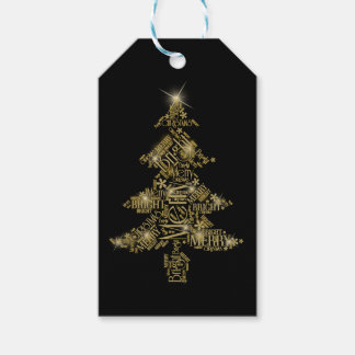 Christmas Tree Word Cloud Gold ID271 Pack Of Gift Tags