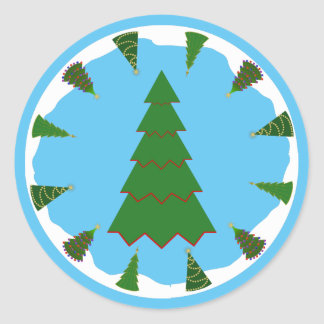 Christmas Trees All Around with Minimal Tree Round Sticker