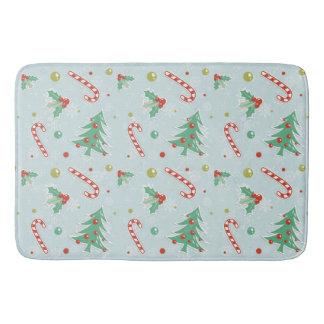 Christmas Trees And Candy Canes Bath Mat