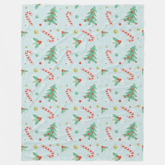 Christmas Trees And Candy Canes Fleece Blanket