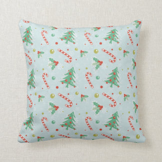 Christmas Trees And Candy Canes Throw Pillow