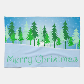 Christmas trees and stars illustration kitchen towel
