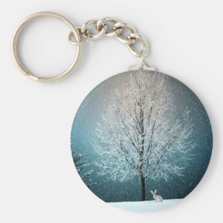 Christmas Trees at Night Keychain