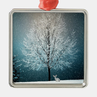 Christmas Trees at Night Metal Ornament