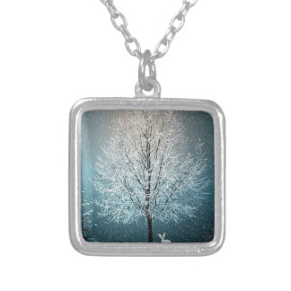 Christmas Trees at Night Silver Plated Necklace
