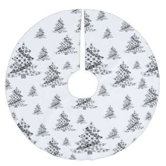 Christmas Trees Black & White Holiday Brushed Polyester Tree Skirt