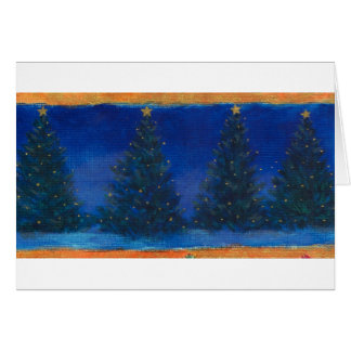 christmas trees-blue&gold painting greeting card