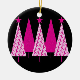 Christmas Trees - Breast Cancer Pink Ribbon Round Ceramic Ornament