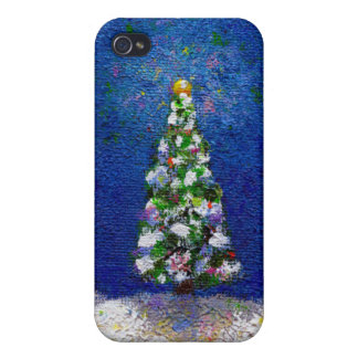 Christmas trees fun colorful original art painting case for iPhone 4