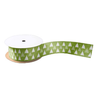 Christmas Trees  | Glitter Green Satin Ribbon