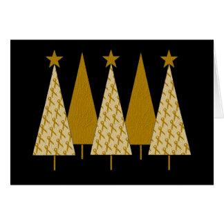 Christmas Trees - Gold Ribbon Greeting Card